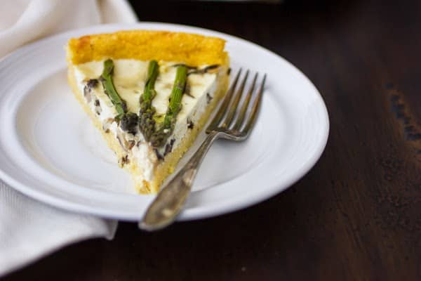 slice of asparagus and shitake mushroom tart