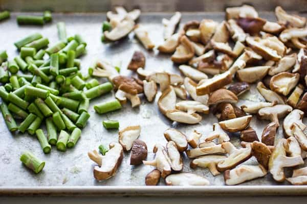 chopped mushrooms on baking tray