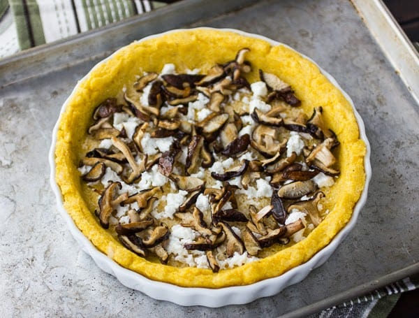 mushrooms on polenta crust