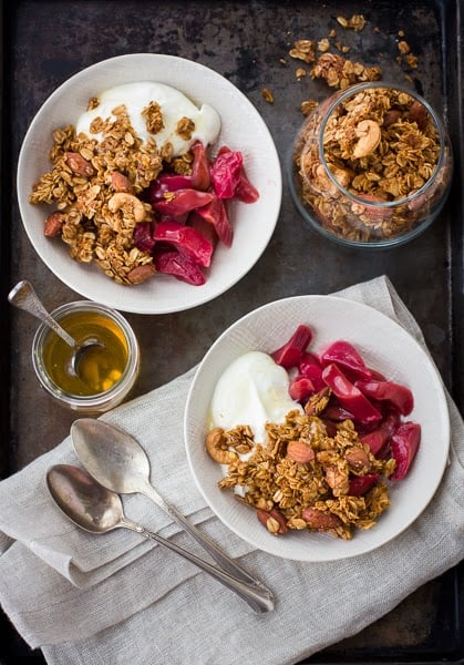 bowls of coconut granola on a table