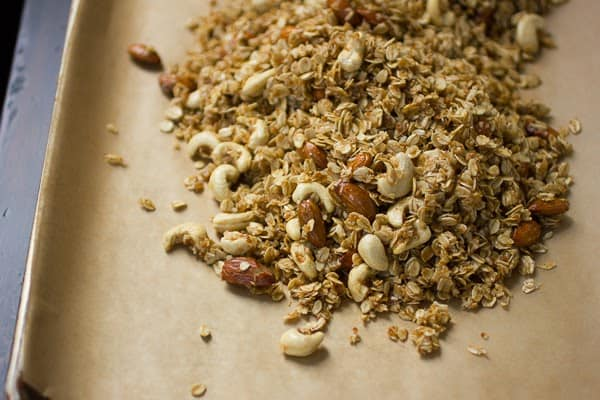 granola mix on parchment