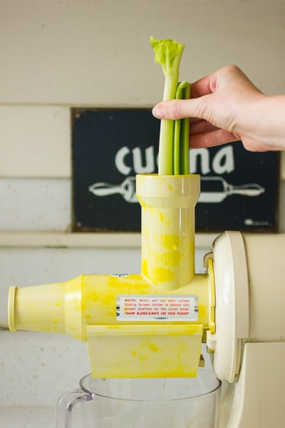 celery in a juicer