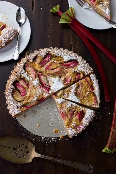top down shot of rhubarb tart