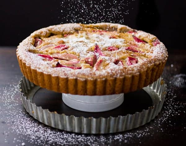 rhubarb tart dusted with powder
