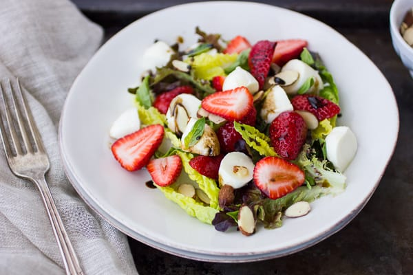 strawberry caprese salad on a plate