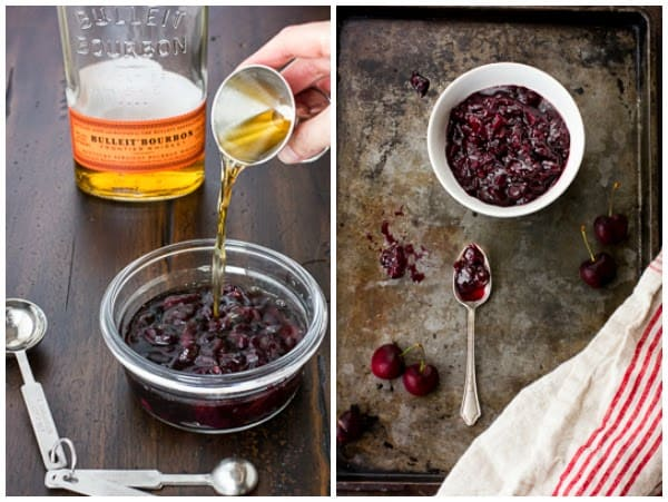 bourbon being added to bowl of cherries
