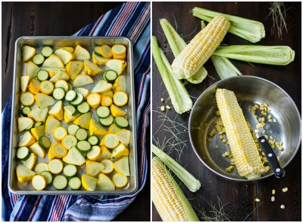 corn and summer veg in bowls