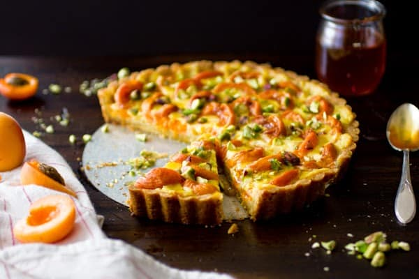 apricot tart on table