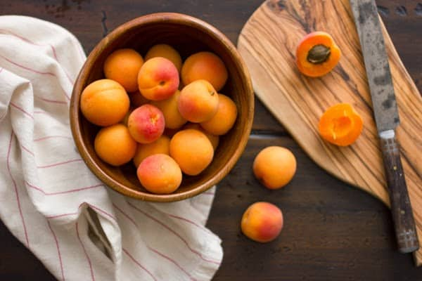 top down shot of apricots in a bowl