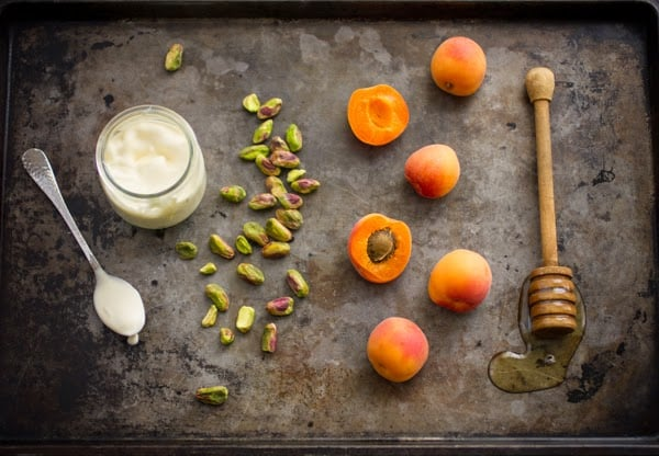 ingredients for apricot creme fraiche tart