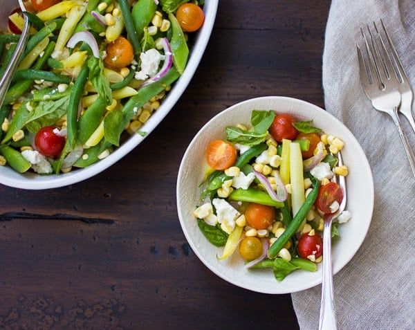 three bean salad with sweet corn and feta