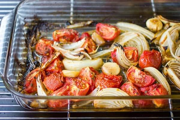 vegetables in roasting dish