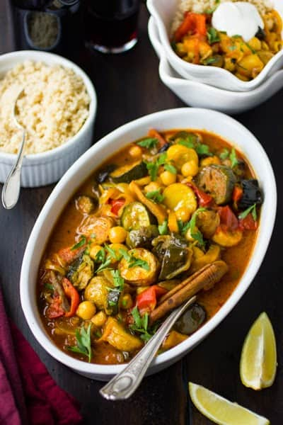 dish with Roasted Eggplant, Chickpea and Summer Vegetable Tagine