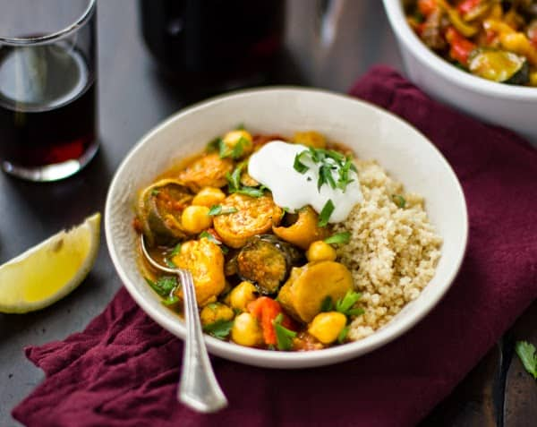 bowl of Roasted Eggplant, Chickpea and Summer Vegetable Tagine