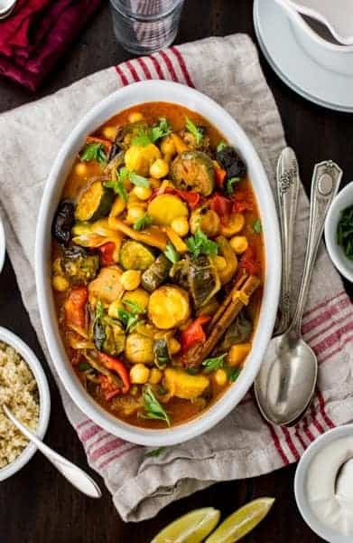 Roasted Eggplant, Chickpea and Summer Vegetable Tagine