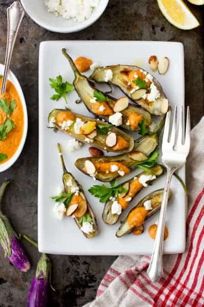 Roasted Tiny Eggplant with Muhammara and Feta