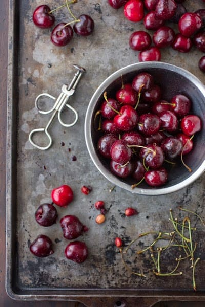 cherries being pitted