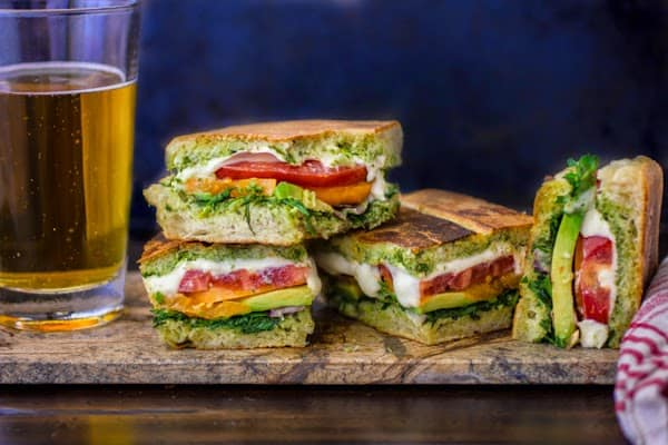 toasted pan bagnat sandwiches with beer