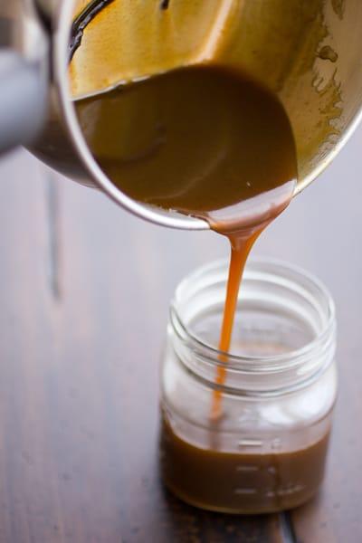 butterscotch poured into jar