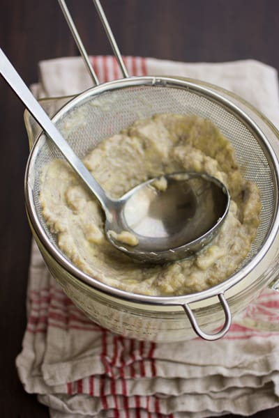 ingredients in sieve