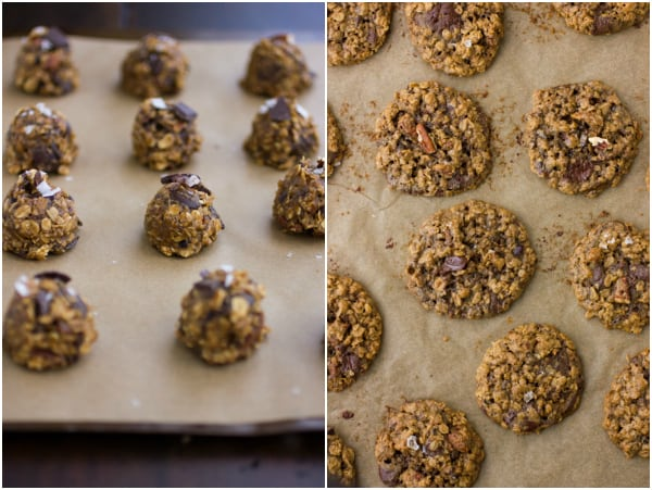 oatmeal cookies before and after baking