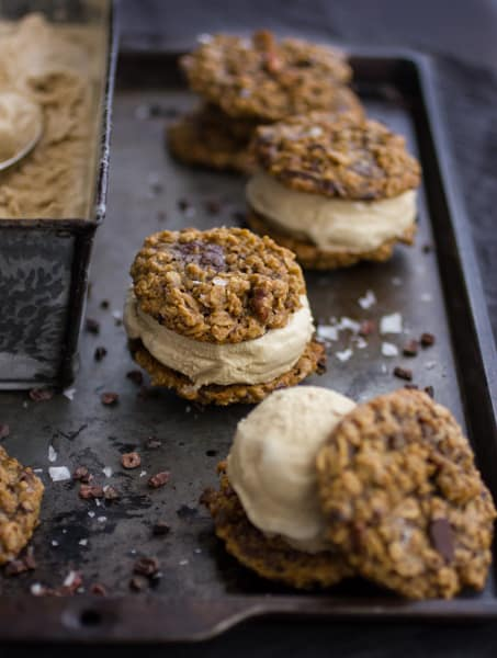 Oatmeal Chocolate Stout Ice Cream Sandwiches on a tray