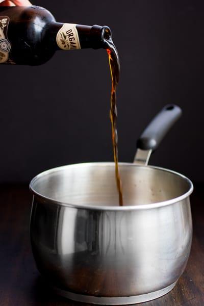 stout poured into pot