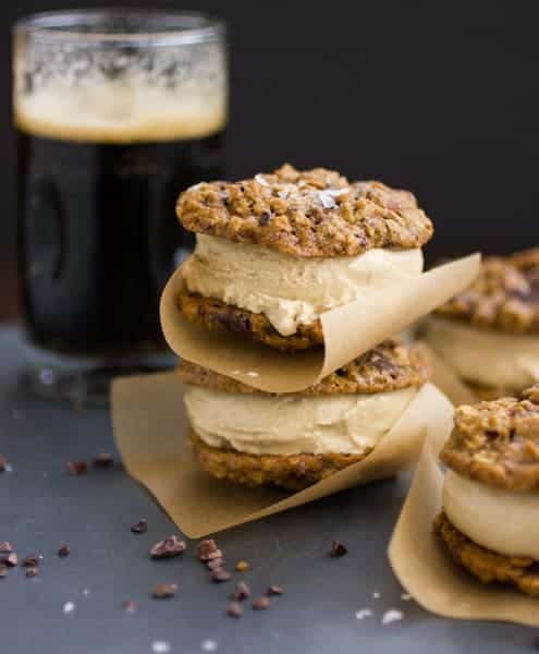 Oatmeal Chocolate Stout Ice Cream Sandwiches with a glass of stout