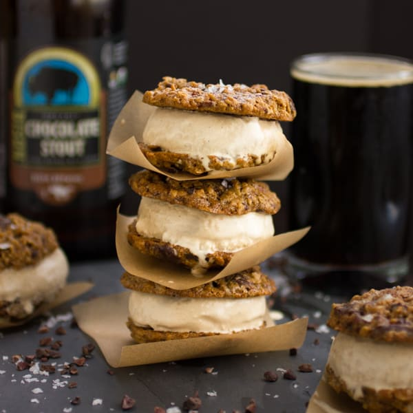 stack of Oatmeal Chocolate Stout Ice Cream Sandwiches