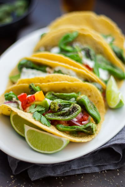 row of Padron Pepper and Goat Cheese Tacos