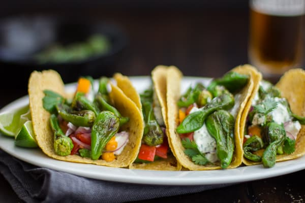 Padron Pepper and Goat Cheese Tacos on a plate
