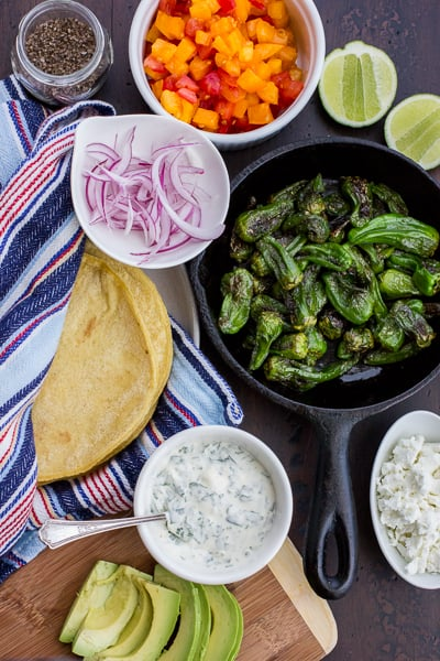 padron peppers in a skillet