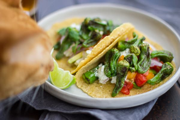 two tacos on a dish