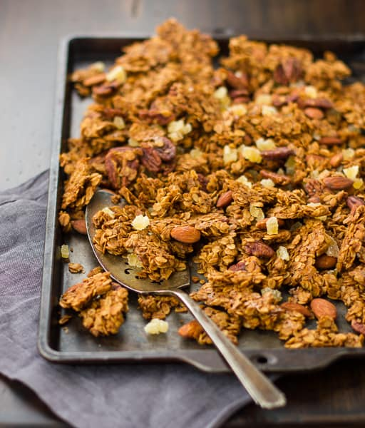Gingersnap Granola on a tray