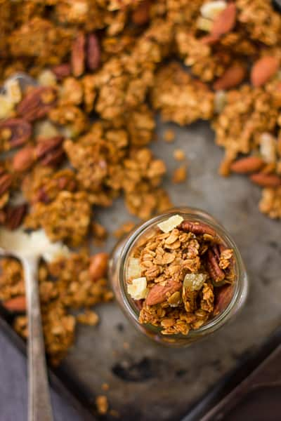 Gingersnap Granola in a jar