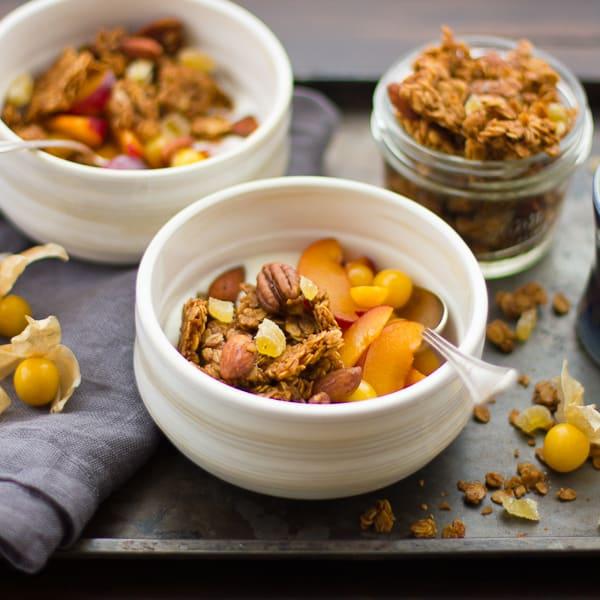 Gingersnap Granola in bowls