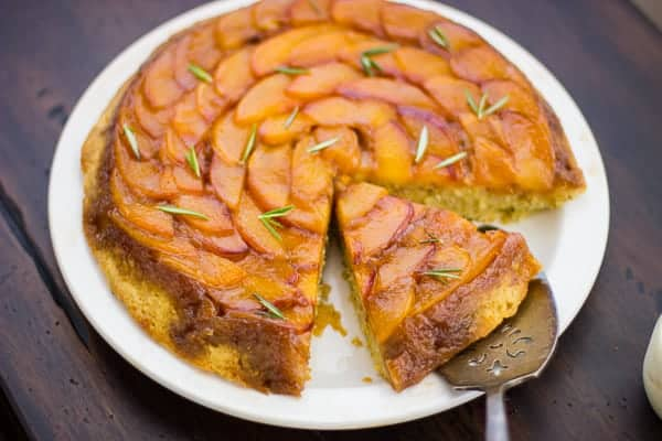 sliced (Gluten-Free!) Rosemary Nectarine Upside-Down Cake