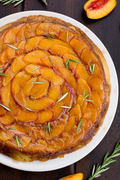 overhead shot of (Gluten-Free!) Rosemary Nectarine Upside-Down Cake