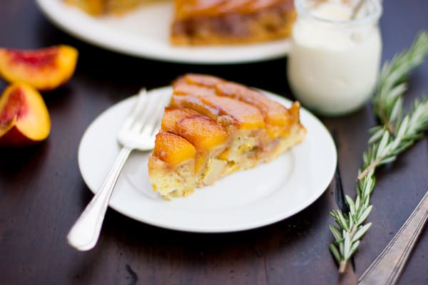 slices of (Gluten-Free!) Rosemary Nectarine Upside-Down Cake
