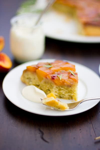 (Gluten-Free!) Rosemary Nectarine Upside-Down Cake with ice cream