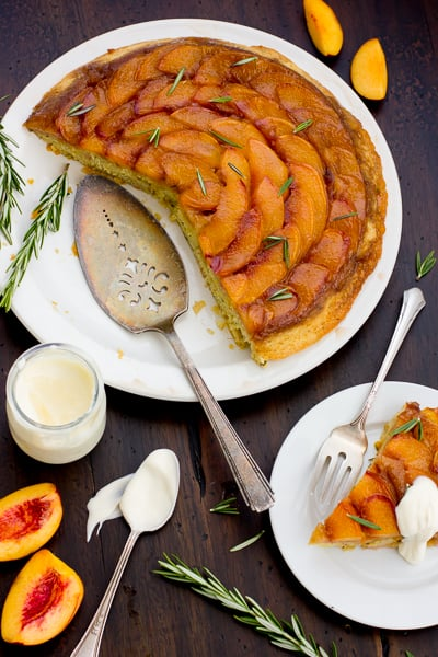 top down shot of (Gluten-Free!) Rosemary Nectarine Upside-Down Cake