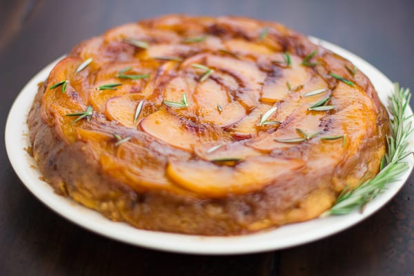 (Gluten-Free!) Rosemary Nectarine Upside-Down Cake on a plate