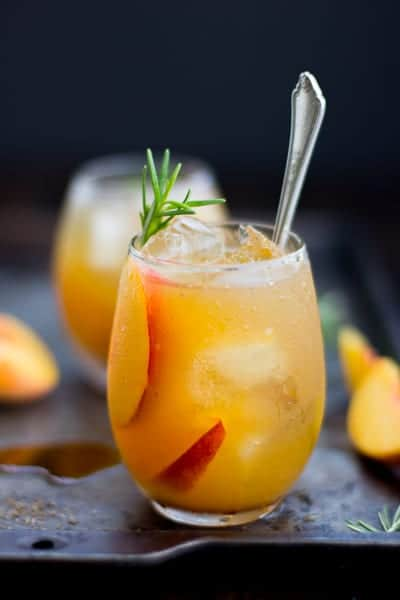 Rosemary Peach Maple Leaf Cocktail • The Bojon Gourmet