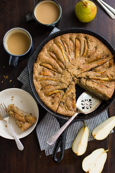 overhead shot of (Gluten-Free) Chai-Spiced Pear Skillet Cake