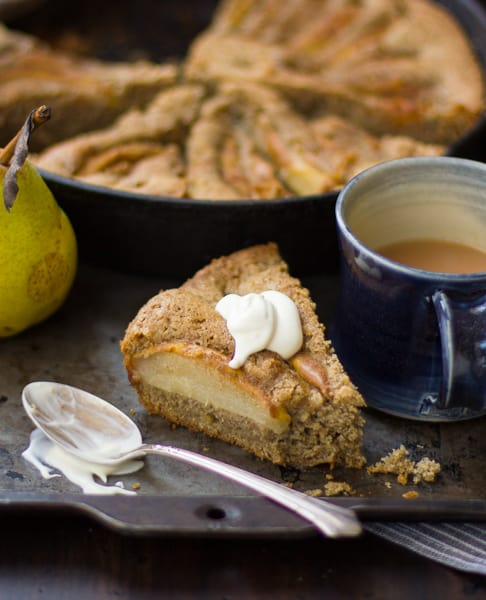 slice of (Gluten-Free) Chai-Spiced Pear Skillet Cake
