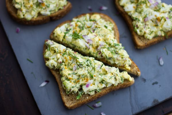 slices of toast Duck Egg Salad with Curry and Dill