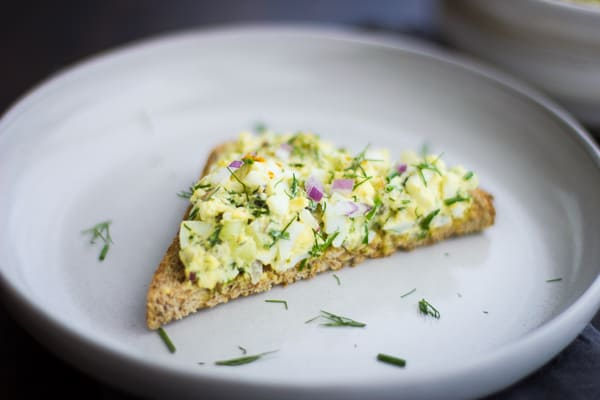 Duck Egg Salad with Curry and Dill on toast