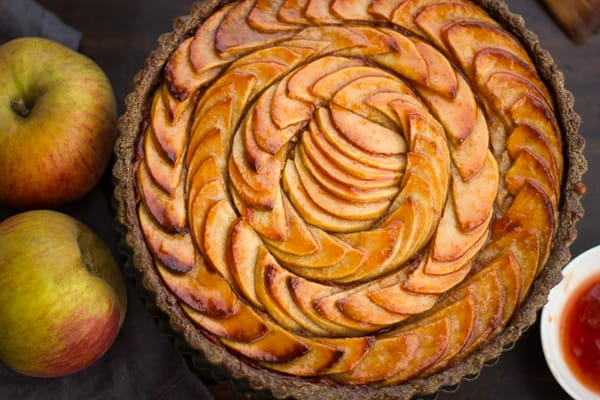 Apple Quince Tart with Gluten-Free Buckwheat Crust with apples