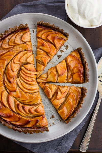 top down shot of Apple Quince Tart with Gluten-Free Buckwheat Crust