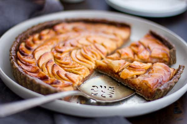 Apple Quince Tart with Gluten-Free Buckwheat Crust in a pie dish
